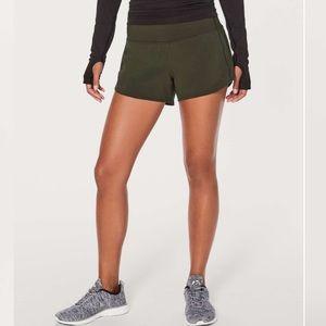 Lululemon Dark Olive Speed Up Gym Shorts